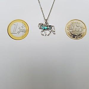 Kiara gioielli in scatola cavallo ciondolo collana e orecchini set intarsiato con agata verde bluastro paua abalone su 45,7cm catena forzatina. Non si ossida colore argento rodiato.