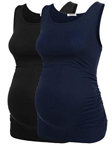 UNibelle Mutterschaft Basic Tank Top Mama Kleidung Hals Sleeveless Tops Frauen Solide Seite Rüschen Weste - Seite Rüschen