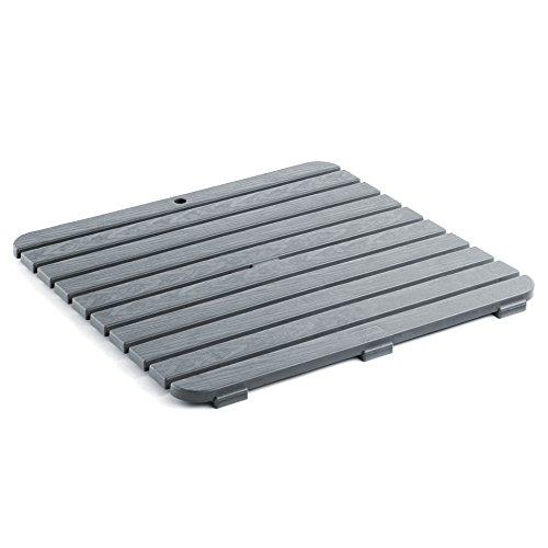 TATAY 5530016 - Tarima de baño cuadrada en plástico con efecto madera, medidas 55 x 3 x 55 cm, color gris