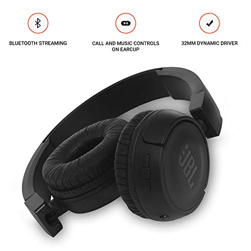 JBL T460BT Extra Bass Wireless On-Ear Headphones with Mic (Black) Image 3