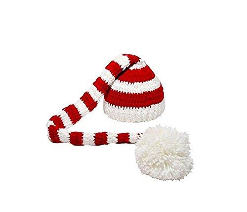 Genven Kreative Wohnaccessoires Neugeborene Babys Handgestrickte Mütze mit häkeln Elf Long Tail Weihnachten Fotografie Requisiten (rot)