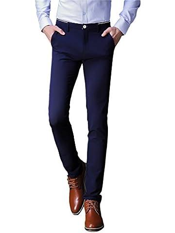 Herren Anzug Hose Slim fit Straight Leg Business Hose Pants von Harrms, Blau-Wei Streifen am Bund, 34(Tag