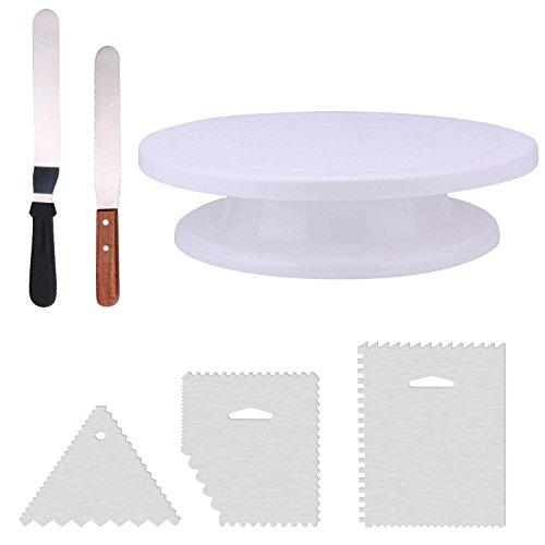 THETIS Homes Plateau Tournant Support Présentoir Gâteau PivotantePlastique pour Cupcakes Pizza Anniversaire Mariage Soirée avec Spatule Raclette 3 Façonneurs à Crème