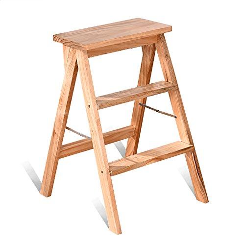 Leiter Hocker 3-Stufenleiter Hocker Massivholz Tritthocker Haushalt Küche Klappleiter Wohnzimmer Hocker Tragbare Stuhl Leiter Dual-Use (Farbe : Holzfarbe) (Nussbaum Stahl Schrank)