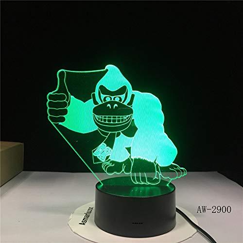 Monkey Night Light Cute Animal Vision Lámpara de Mesa de gradiente de...