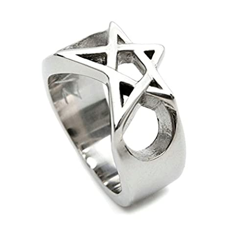 Stainless Steel Ring for Men, Hollow Star Ring Gothic Silver Band 13MM Size X 1/2 Epinki
