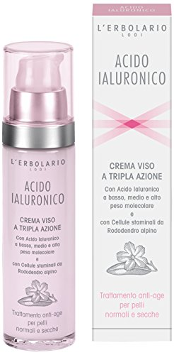 L'Erbolario, Crema Viso Acido Ialuronico per Pelli Normali e Secche, Trattamento Anti-Age a Tripla Azione, 50 ml