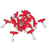 Broadroot 20pcs Zip Slider haute résistance Ligne de pêche Sinker Slider diapositives Crochet Snap, Red