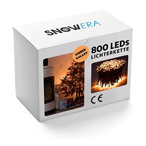 SnowEra 800er LED Galaxy Lichterkette/Weihnachtslichterkette für Innen und Außen mit Timer und Dimmfunktion - Lichtfarbe: Amber/Bernstein - Form: Cluster Lichterkette