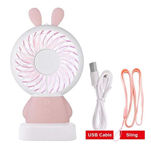 zaote USB Cartoon Mini Fan tragbare Handheld Fan Farbe Licht Kühler Lanyard portable well-suited (Mini Fan Handheld)
