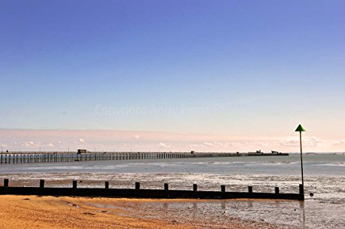 Andy Evans Photos Fotodruck Southend on Sea/Southend Pier/Three Muscheln Beach in Essex England/Großbritannien, 45,7 x 30,5 cm Essex Crystal