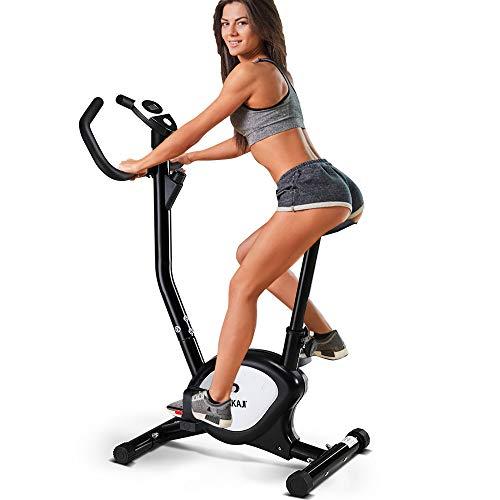 Bakaji cyclette pieghevole bici allenamento fitness cardio gambe pancia fianchi bike spinning con sediolino imbottito regolabile e display lcd struttura in acciaio inox (nero)