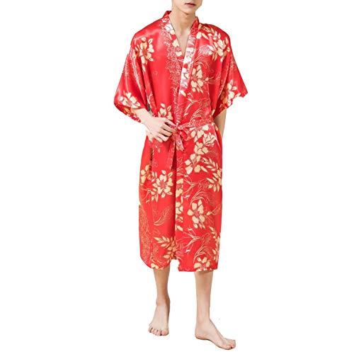 SZTB Pijamas Hombres y Mujeres Pareja simulación Seda Seda satén túnica Estampada Primavera Verano...