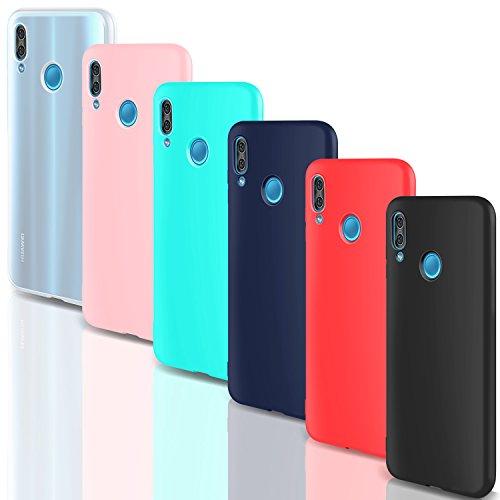 """6 Pack X Custodia Huawei P20 Lite Cover Silicone , Leathlux Ultra Sottile Morbido TPU Custodie Protettivo Gomma Gel Cover per Huawei P20 Lite 5.84"""" / Huawei P11 Lite Rosa, Verde, Rosso, Blu scuro, Traslucido, Nero"""