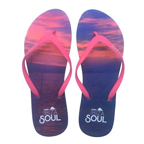 Ibiza Soul, Damen Durchgängies Plateau Sandalen, Sunset Pink - Größe: 36.5 Ibiza Thong