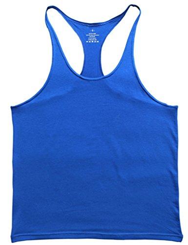 Musclealive Herren Fitnessstudio Stringer Unterhemd 1 cm Strap dehnbares Material aus Baumwolle (Athlet Tank)