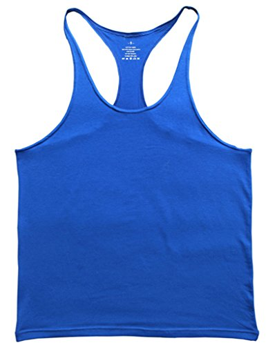 Musclealive Herren Fitnessstudio Stringer Unterhemd 1 cm Strap dehnbares Material aus Baumwolle (Racerback Kleid Tank)