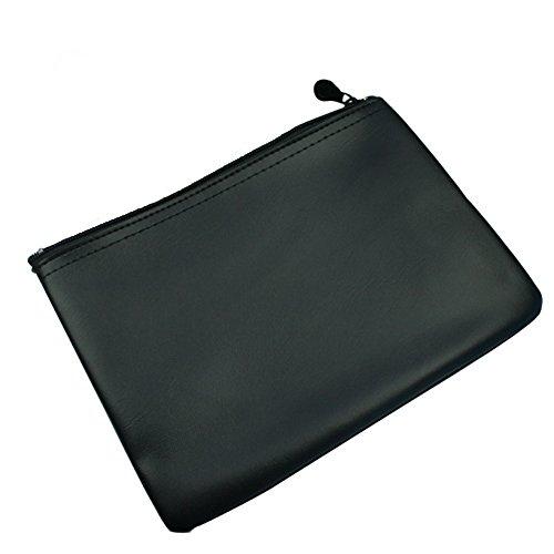 2 Elegante Banktaschen Utensilien-Taschen Geldscheintaschen aus Kunstleder ohne Logo, Farbe: Schwarz - Weinrot Schwarz