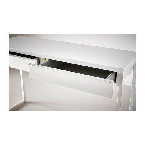 """IKEA Schreibtisch / Laptop-Tisch """"Besta Burs"""" beidseitig lackierter Beistelltisch mit zwei Schubladen – Sideboard hochglanz weiß – BxTxH 120x40x74 cm"""