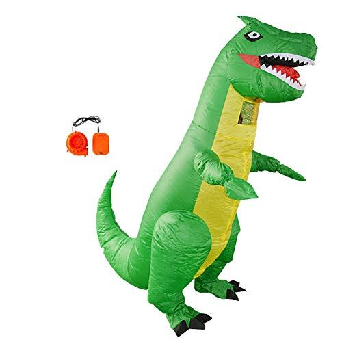 fblasbare Dinosaurier Kostüm T-Rex Costume for Halloween Horror Party Outfit Für Größe 150 cm-2 mt,Green ()