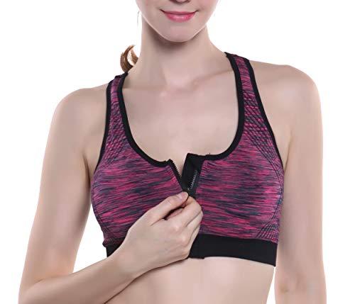SHEKINI Frauen High Impact Reißverschluss Vorne Yoga BH Abnehmbare Pads Racerback Unterstützung Sport-BH Draht Kostenloser BH(lila,XL)