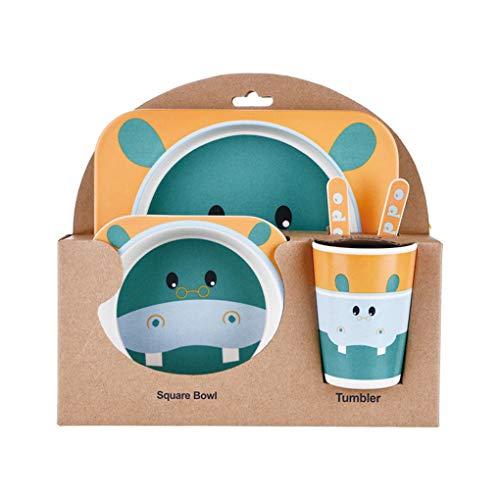 Uzinb Kids Tableware Set 5Pcs Baby Bamboo Fiber Cartoon Bowl Animal Dinnerware Set Toddler Cup Spoon Fork