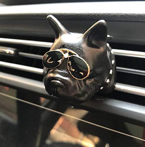 HellO X Cartoon Bulldog Form Parfüm Clip Lufterfrischer Diffusor Auto Klimaanlage Luftauslass (Schwarz)