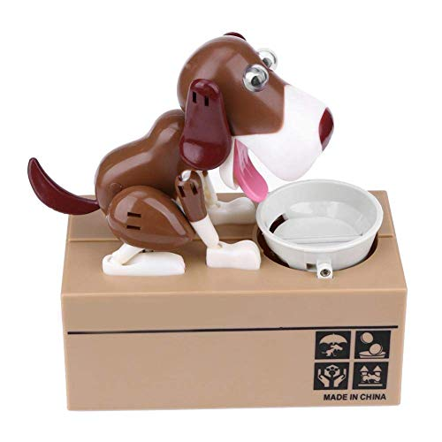 Beaulies Eating Coins Hungry Dog, Puppy Doggy Bank Hungry Hound Money Banks Kids, Bank Coin-Eating Money Saving Box (White+Brown)