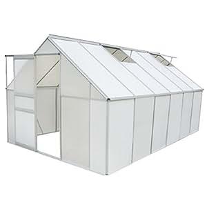 Serre de jardin 9,25 m² en polycarbonate et aluminium 370 × 250 × 195 cm porte coulissante et 2 lucarnes d'aération