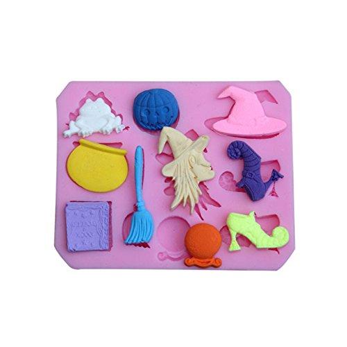 Hexe Spiel Halloween Kürbis Kuchen Dekoration Silikonform Seifenformen Fondant Gießform Silikon für Kuchen Schokoladen Seife Gelee Muffin