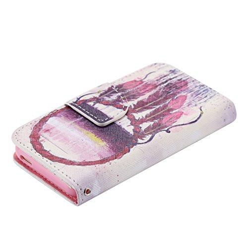 PU für Apple iPhone 5 5S SE Hülle,Geprägte Campanula Handyhülle / Tasche / Cover / Case für das Apple iPhone 5 5S SE PU Leder Flip Cover Leder Hülle Kunstleder Folio Schutzhülle Wallet Tasche Etui Sta 13