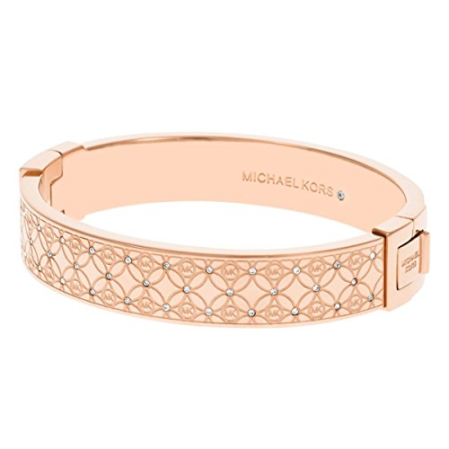 Michael Kors MKJ4472791 Women's Monogram Rose Gold Steel Crystal Bangle Bracelet