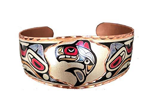 Handgearbeitetes anpassbares Kupfer- Armband mit einzigartigem handwerker design. Gegen Schmerz und Arthritis. Therapie mit Kupfer. (South Native/Native American) (killer fish)