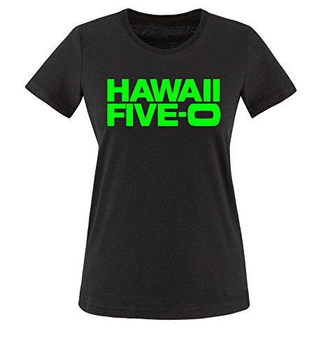 Liebe Fußball-mütter, T-shirt (Comedy Shirts - HAWAII FIVE-O - Damen T-Shirt - Schwarz / Neongrün Gr. XXL)
