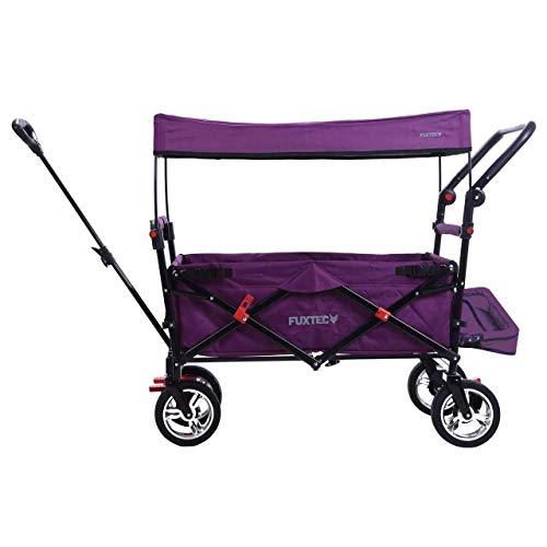 FUXTEC faltbarer Bollerwagen FX-CT800 purpur klappbar mit Dach, Vorder- und Hinterrad-Bremse, Vollgummi-Reifen, Bügel,Innenraumverlängerung für extra lange Beine, für Kinder geeignet - Das Original !