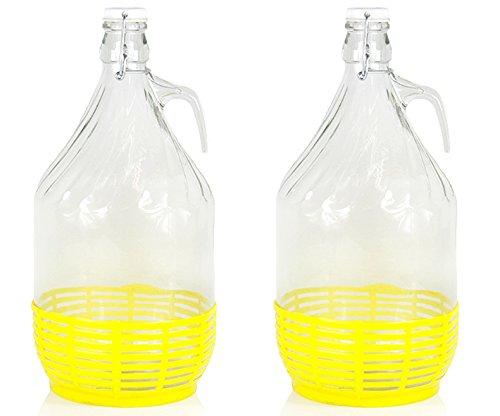 2 x 5L Weinballon Glasballon gut schließbarer Bügelverschluss Glasflasche