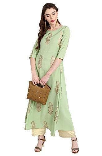 Janasya Women's A-Line Kurta (JNE2205-KR-467-A_Green_L)