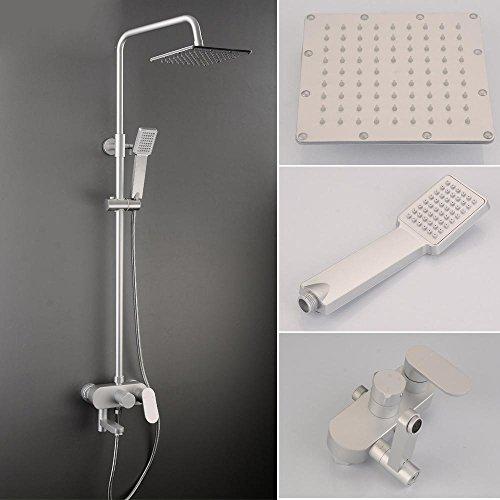 KHSKX Hause quadratische Kopfbrause Brauseset dritten Gang Spritzer zu verschütten Anzüge schlanke Turbo Dusche Aluminium Raum Badewanne Wasserhahn (Raum Anzug Zum Verkauf)