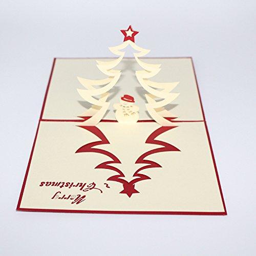 Global Brands Online El árbol de navidad y el muñeco de nieve 3D est Tarjeta de felicitación del partido de los regal