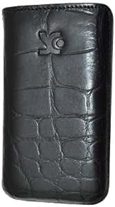 Suncase Ledertasche mit Rückzugsfunktion für das Samsung Galaxy Ace S5830i und S5830 in croco-schwarz