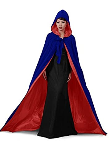 Satin Bleu dressvip couleur Halloween Cape à capuche en velours Longueur totale Multicolore Blue Red