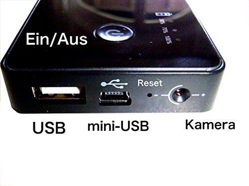 MINI-CAMCORDER-KAMERA-DVR-DV in einer POWER BANK von vario-Elektronik® , mit BEWEGUNGSMELDER. Mit einer 16GB micro SDHC Speicher Karte. PLUG&PLAY. 3000mAh BATTERIE. Als normale POWER BANK zu verwenden, Handy, Tablets, Kamera, MP3. (Microsdhc-speicher)