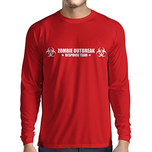 N4519L T-Shirt mit langen Ärmeln Zombie Outbreak Response Team (Large Rot Weiß)