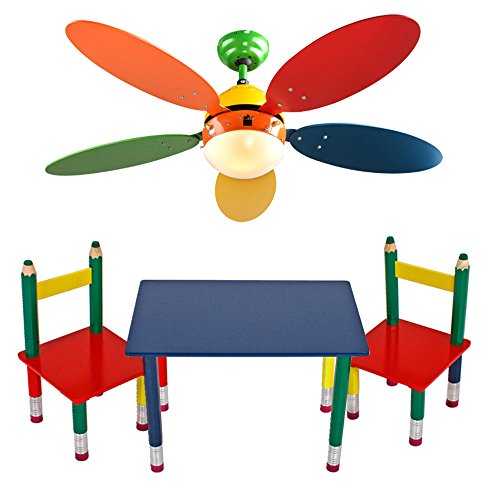 etc-shop Kinder Möbel Set Decken Ventilator farbenfroh Spiel Zimmer Leuchte Tisch Gruppe Massiv Holz Bleistift Kindermöbel