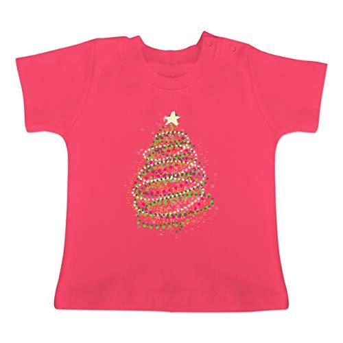 Weihnachten Baby - Abstrakter Weihnachtsbaum - 1-3 Monate - Fuchsia - BZ02 - Baby T-Shirt Kurzarm -