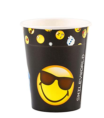 Amscan International Amscan 9901288 - Vasos de papel (250 ml, 8 unidades), diseño de emoticonos sonrientes, color blanco y negro