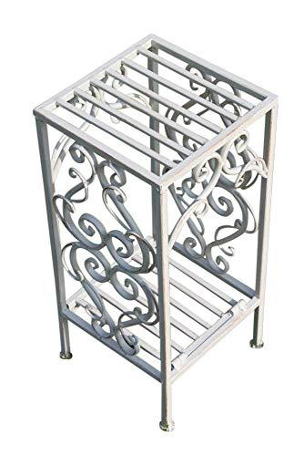 Table d'appoint ou support de plante métallique style Versailles finition blanc antique (petite)