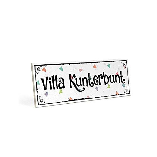 ARTFAVES Holzschild mit Spruch – Villa KUNTERBUNT – Vintage Shabby Deko-Wandbild/Türschild