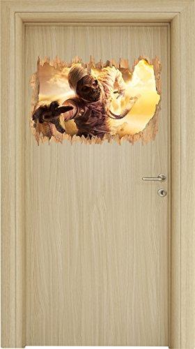 Mumie greift an Holzdurchbruch im 3D-Look , Wand- oder Türaufkleber Format: 62x42cm, Wandsticker, Wandtattoo, (Kostüm Bilder Mumie)