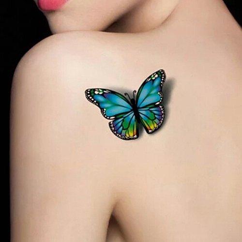 (SEGRJ 3D bunte Rose & Schmetterling abnehmbare temporäre Tätowierung wasserdichter Körperkunst Blumen Aufkleber)